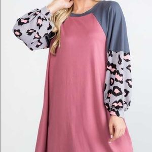 Animal and color block puff sleeve dress